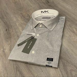 Michael Kors Gray & White Leaf Casual Dress Shirt